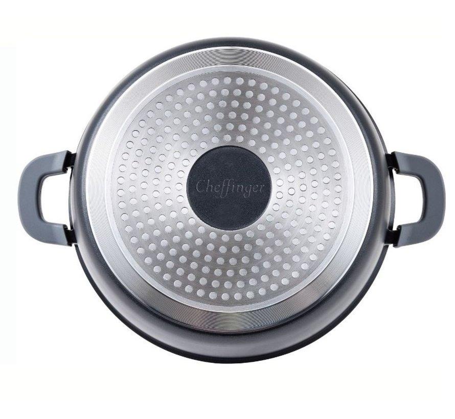 Cheffinger Braadpan/ Lage Pan / Serveerpan - Marmer coating - met verwijderbare siliconen handvatten - RVS - 32 cm