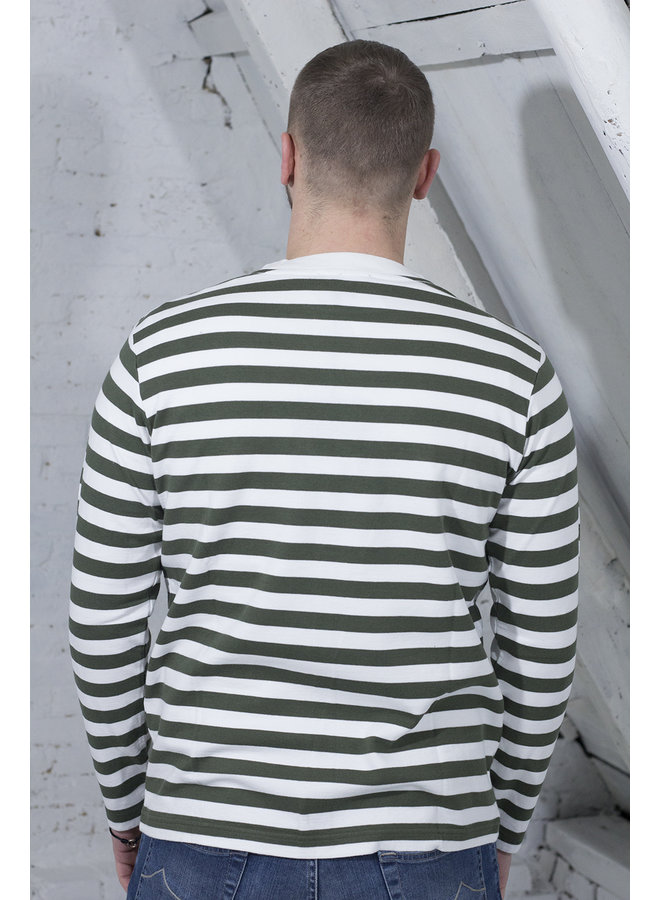 STRIPE SANS LONGSLEEVE GROEN/WIT [OH11] Stripe Sans LS [sage/wh.]