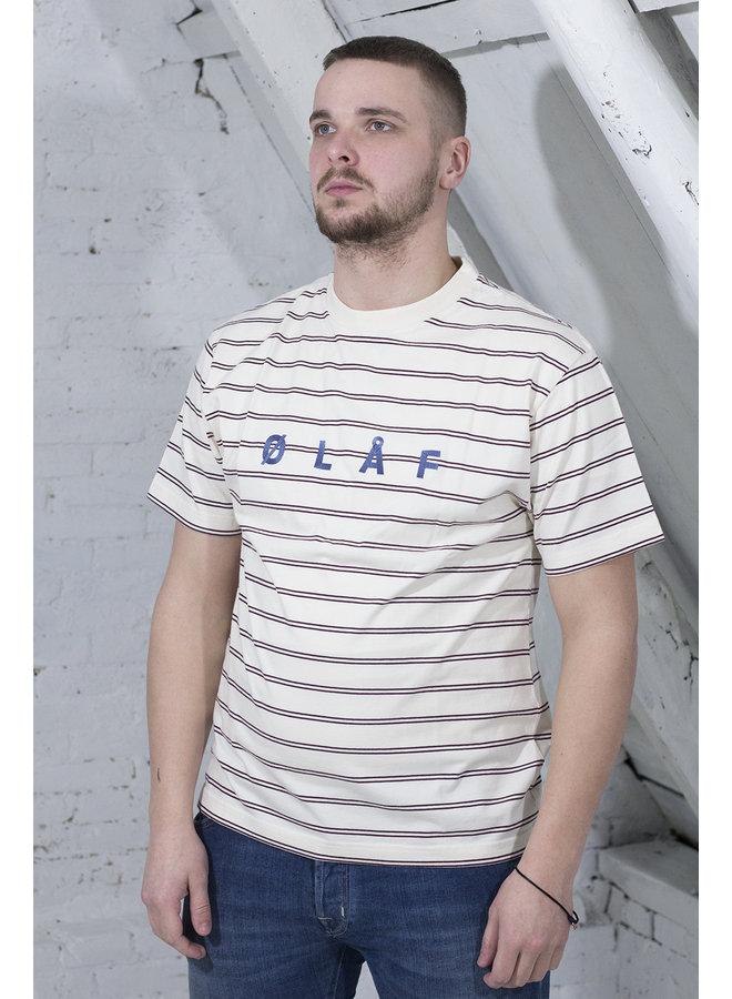 OLAF MINI STRIPE T-SHIRT WIT/BORDEAUX
