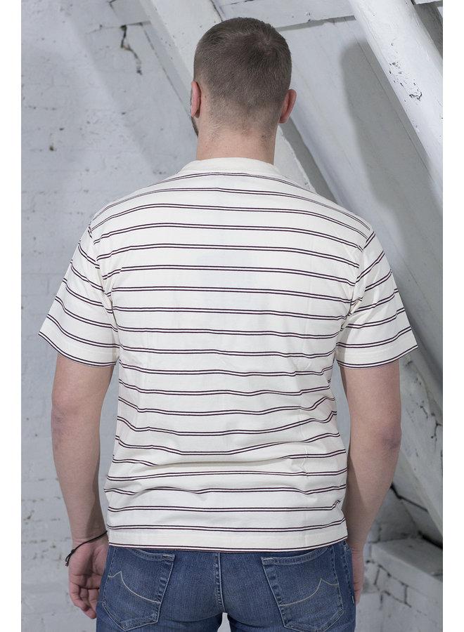 MINI STRIPE T-SHIRT WIT/BORDEAUX [OH11] Mini Stripe Tee [wh./bor]