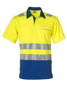Rescuewear Poloshirt korte mouw, Kobaltblauw/Neongeel , HiVis Klasse II