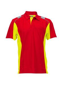 Rescuewear Poloshirt Dynamic, korte mouw, Rood/Neongeel