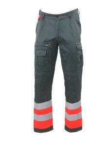 Rescuewear Unisex Broek HiVis Kl.1, Grijs/ Neon Rood