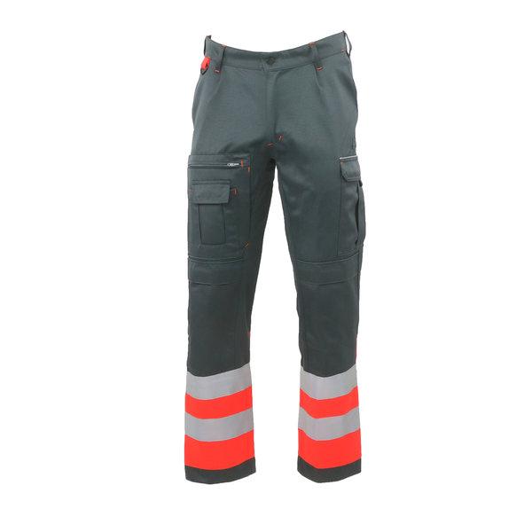 Rescuewear Unisex Broek HiVis Kl.1 Grijs / Neon Rood