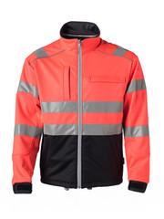Rescuewear Softshell jas HiVis Kl.3 Zwart / Neon Rood