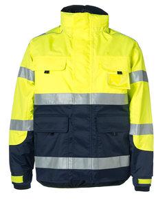 Rescuewear Midi-Parka HiVis Kl. 3 Marineblauw / Neongeel