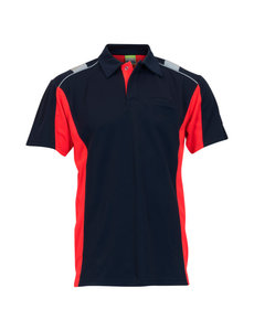 Rescuewear Poloshirt Dynamic kurze Ärmel Marineblau/ Neonrot