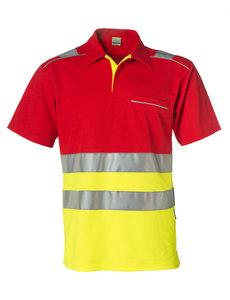 Rescuewear Poloshirt kurze Ärmel, Rot/NeonGelb, HiVis Klasse 1