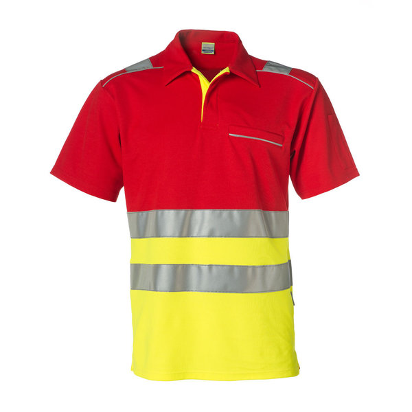 Rescuewear Poloshirt korte mouw, Neongeel/Rood, HiVis Klasse I