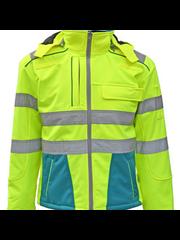 Rescuewear Softshell Dynamic Enamelblauw /Neon Geel, HiVis Klasse 3