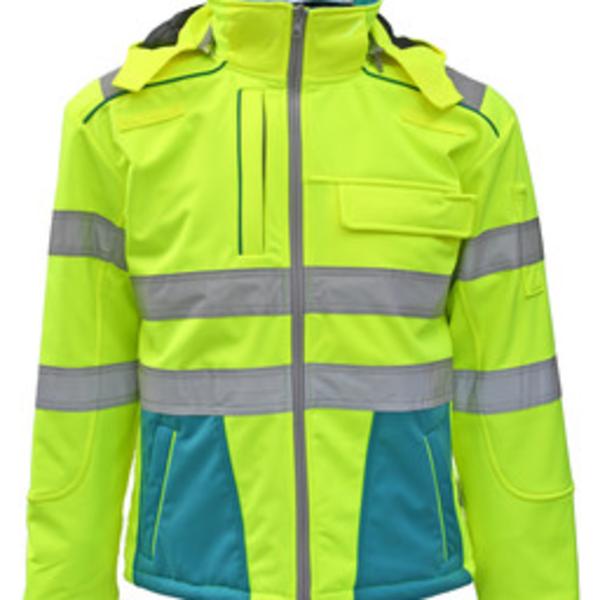 Rescuewear Softshell Dynamic Enamelblauw/Neon Geel  HiVis Klasse 3