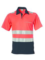 Rescuewear Poloshirt kurze Ärmel Vapor-X, Schwarz / Neon Rot