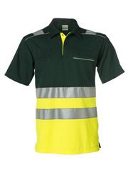 Rescuewear Poloshirt kurze Ärmel, Grün/NeonGelb, HiVis Klasse 1