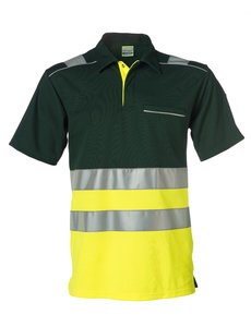Rescuewear Poloshirt korte mouw, Neongeel/Groen , HiVis Klasse I