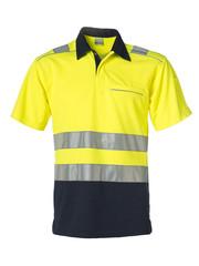 Rescuewear Poloshirt korte mouw, Marineblauw/Neongeel , HiVis Klasse II