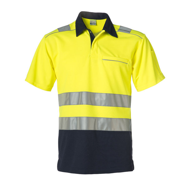 Rescuewear Poloshirt korte mouw, Marineblauw/Neongeel, HiVis Klasse II