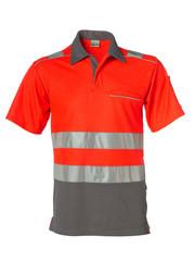 Rescuewear Poloshirt kurze Ärmel Vapor-X, Grau/ Neon Rot