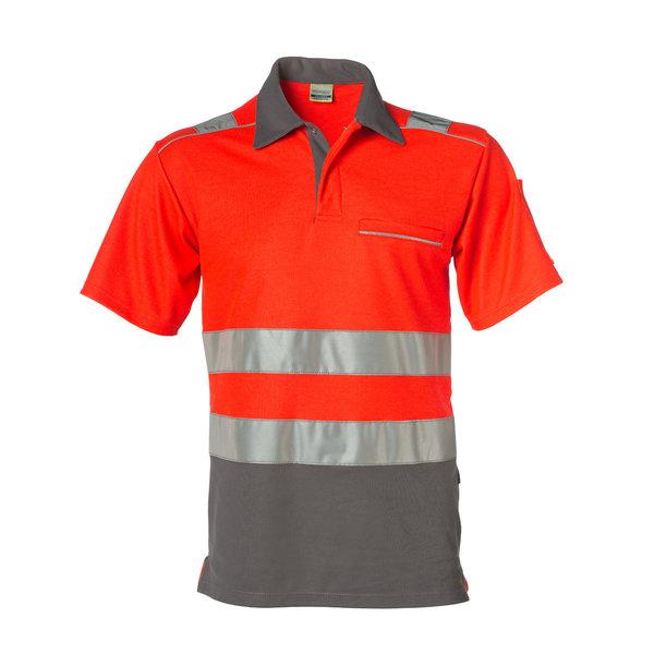 Rescuewear Poloshirt kurze Ärmel Vapor-X, Grau / Neon Rot