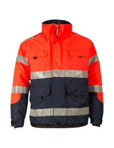 Rescuewear Midi-Parka HiVis Kl. 3 Marineblauw / Neonrood