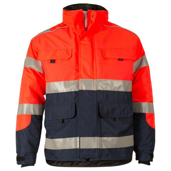 Rescuewear Midi-Parka HiVis Kl. 3 Marineblauw/ Neonrood