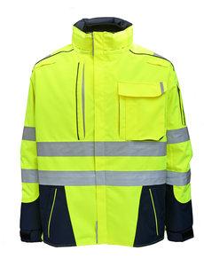 Rescuewear Midi-Parka Dynamic HiVis, Marineblauw / Neongeel