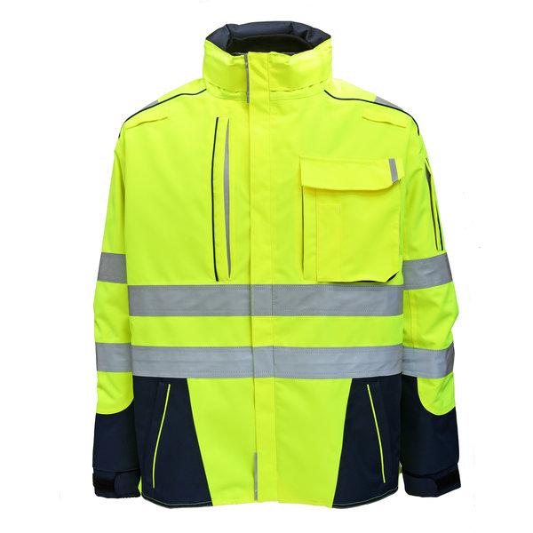 Rescuewear Midi-Parka Dynamic HiVis, Marineblauw/ Neongeel