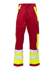 Rescuewear Unisex Broek Dynamic, HiVis,  Rood/Neongeel