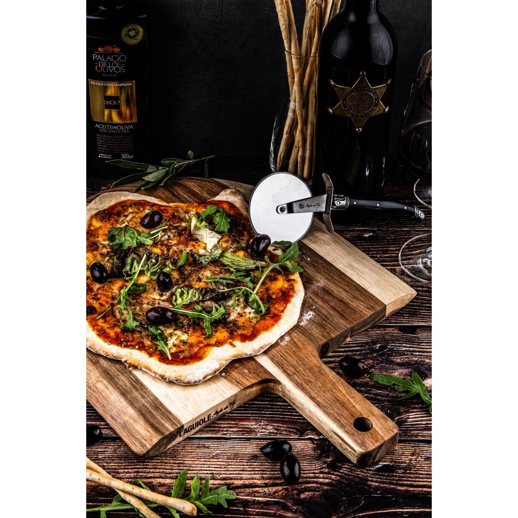 Laguiole Style de Vie Laguiole Style de Vie Premium Line pizzasnijder, met acaciahouten serveerplank