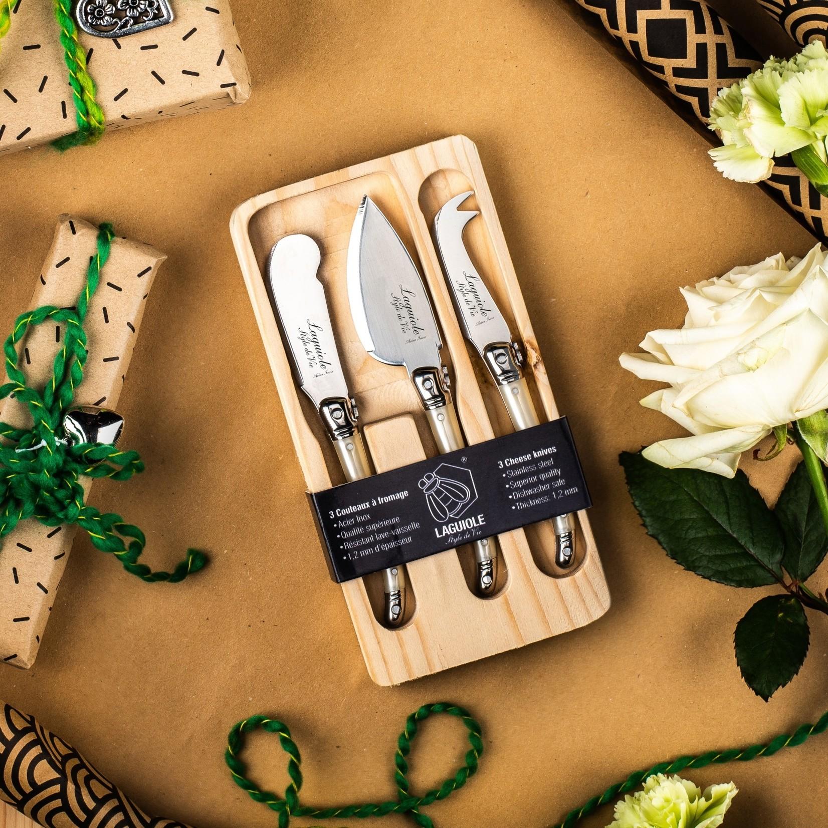Laguiole Style de Vie Laguiole Style de Vie Premium Line kaasmessenset 3-delig parelmoer