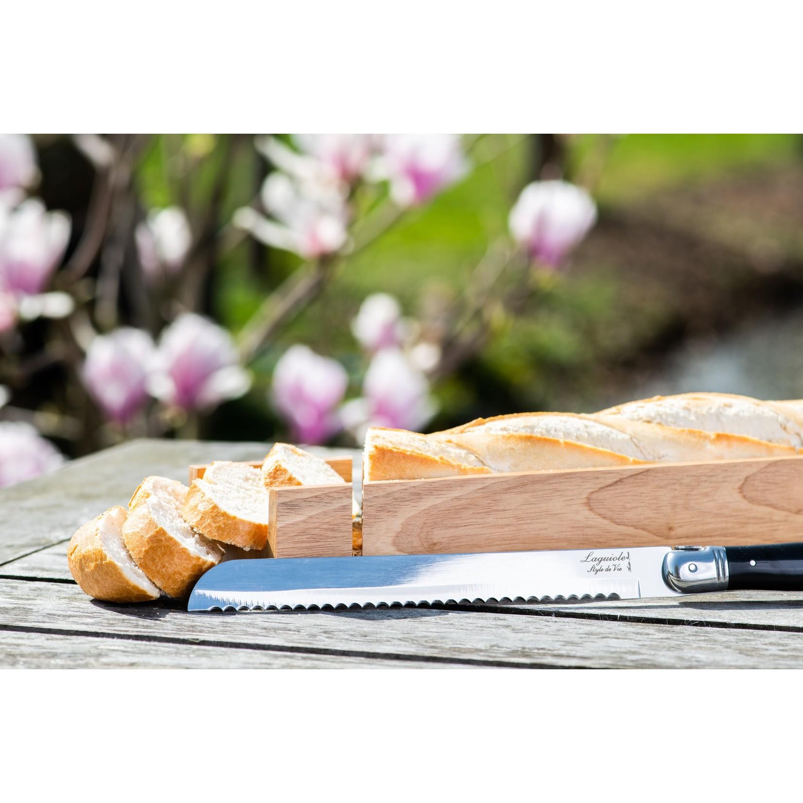 Laguiole Style de Vie Laguiole Style de Vie Premium Line broodmes zwart met plank