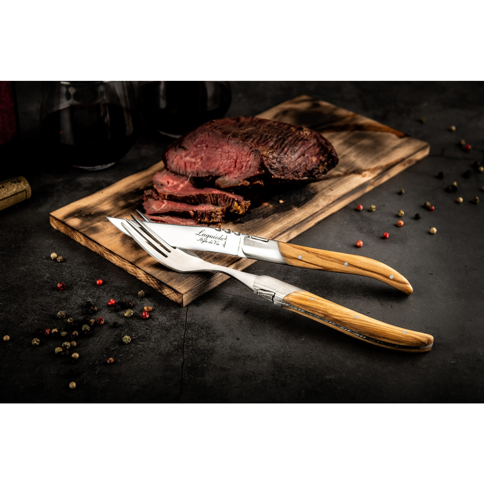 Laguiole Style de Vie Laguiole Style de Vie Luxury Line Steakmessenset 6-delig olijfhout