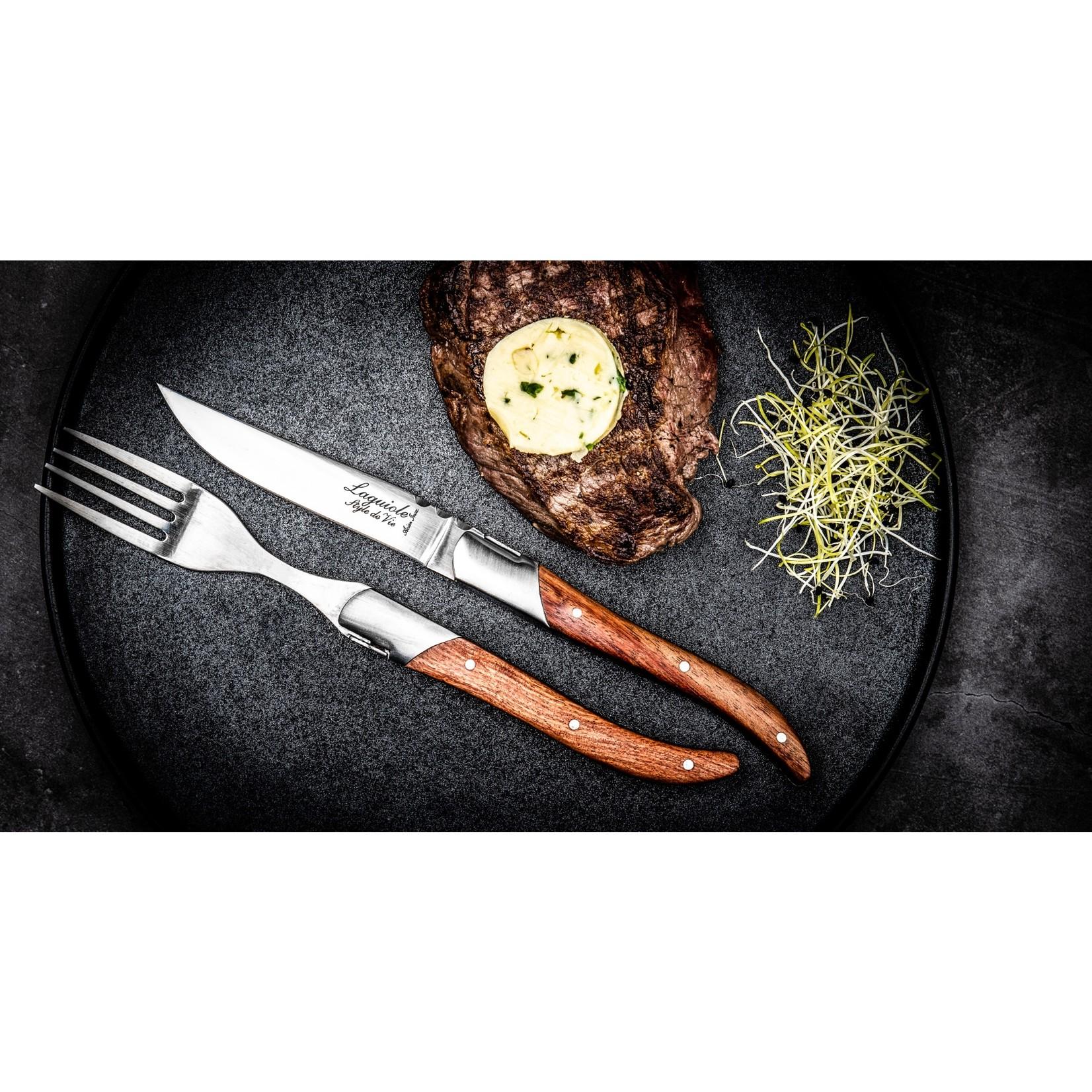 Laguiole Style de Vie Laguiole Style de Vie Luxury Line Steakmessenset 6-delig rozenhout