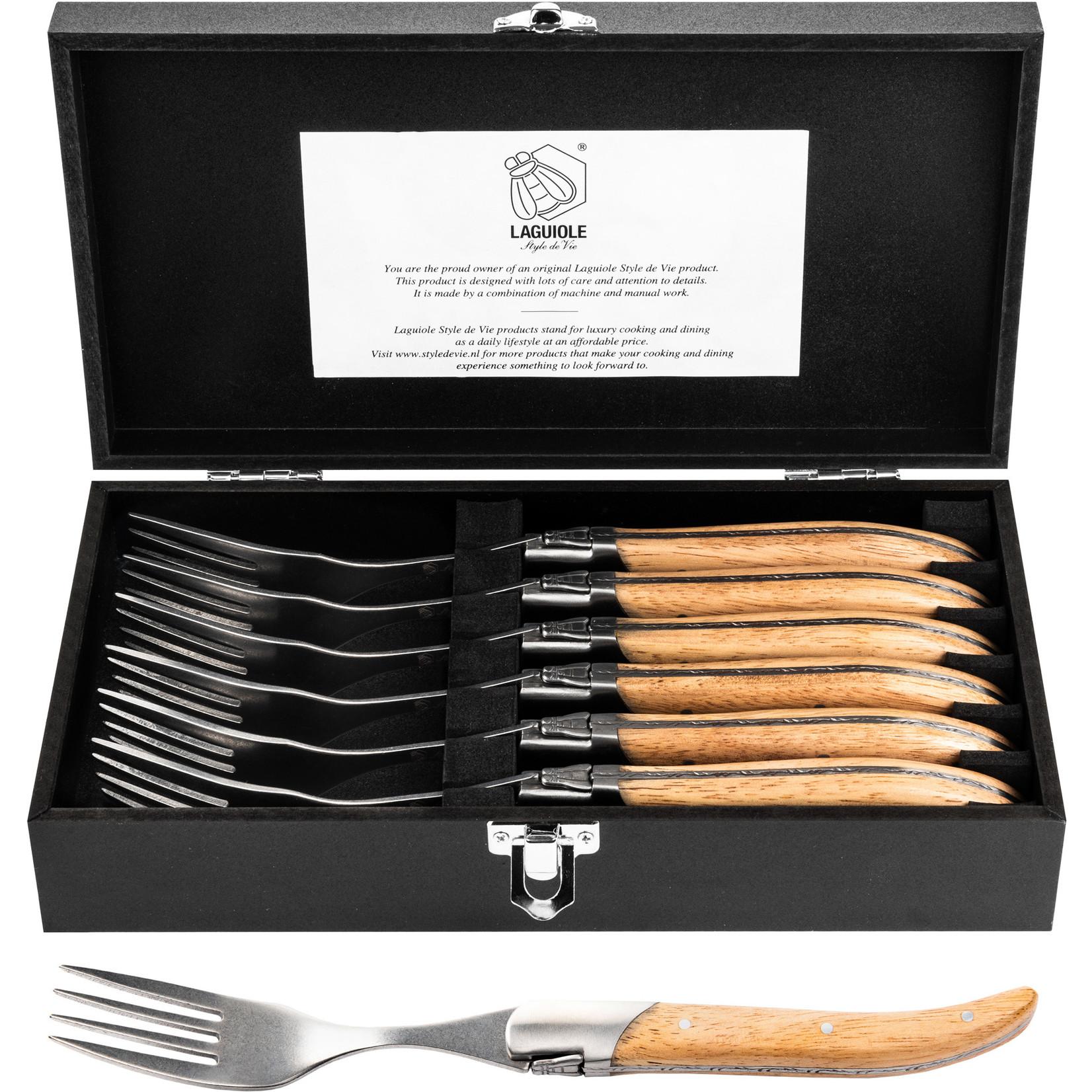 Laguiole Style de Vie Laguiole Style de Vie Luxury Line vorken 6-delig, eikenhout