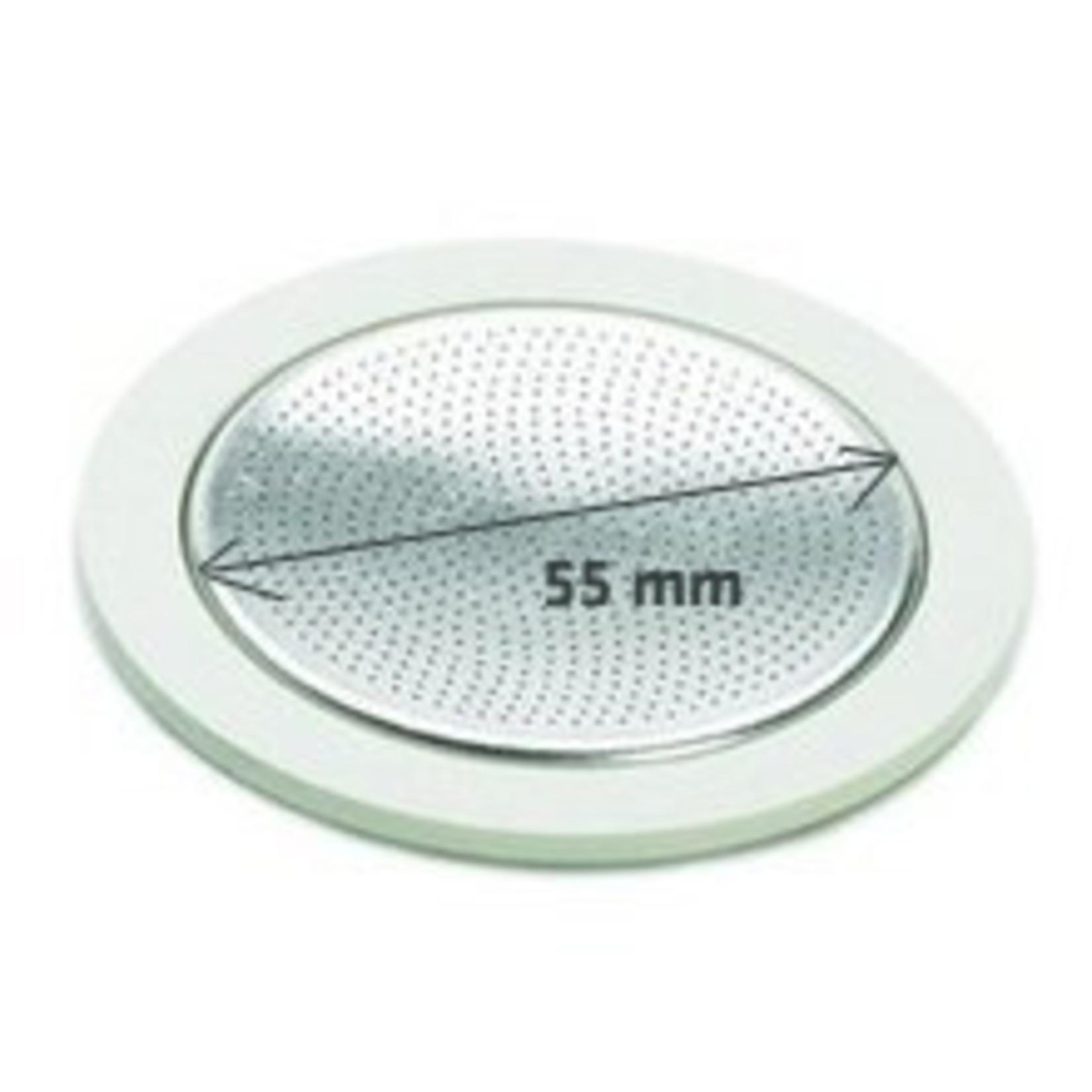 Bialetti Bialetti filterplaatje met rubberen ringen 6 kops RVS