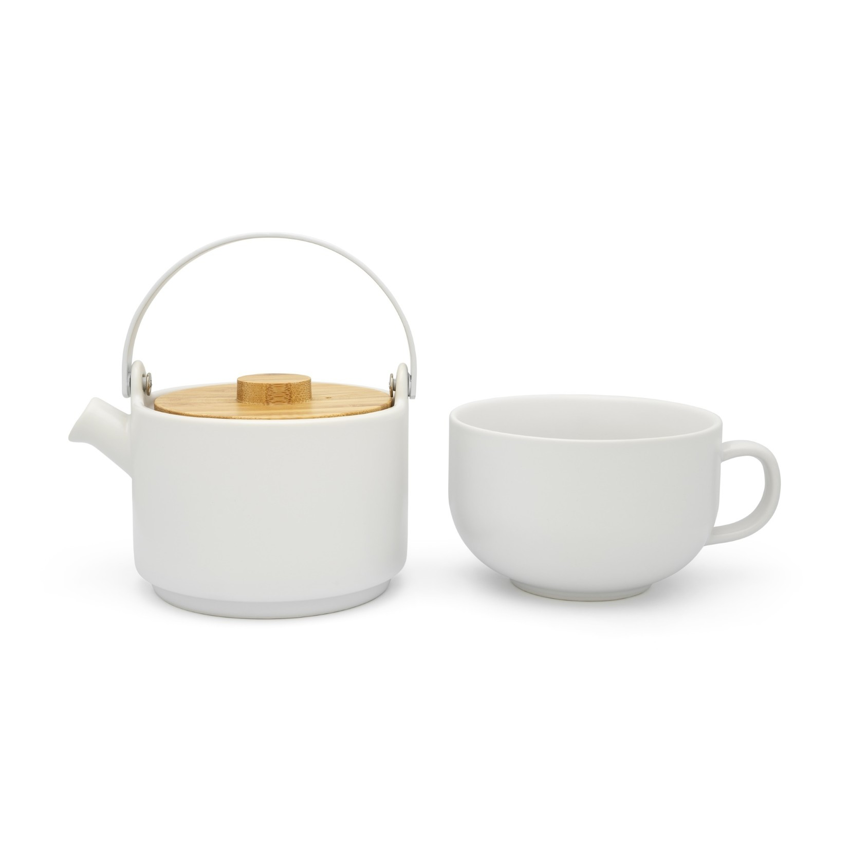 Bredemeijer Bredemeijer Silhouet theepotten Tea for one Umea wit met bamboedeksel 500ml