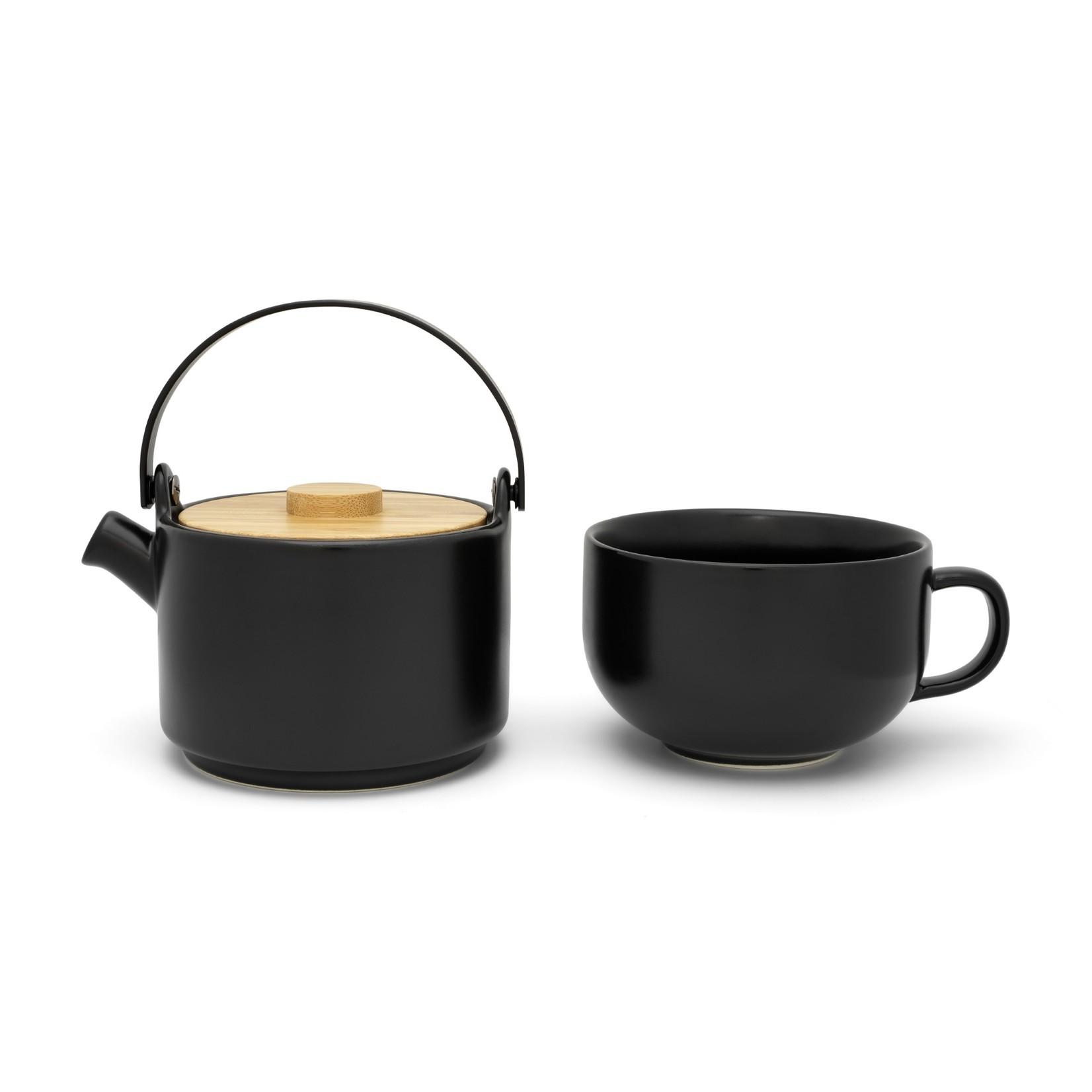 Bredemeijer Bredemeijer Silhouet theepotten Tea for one Umea zwart met bamboedeksel 500ml