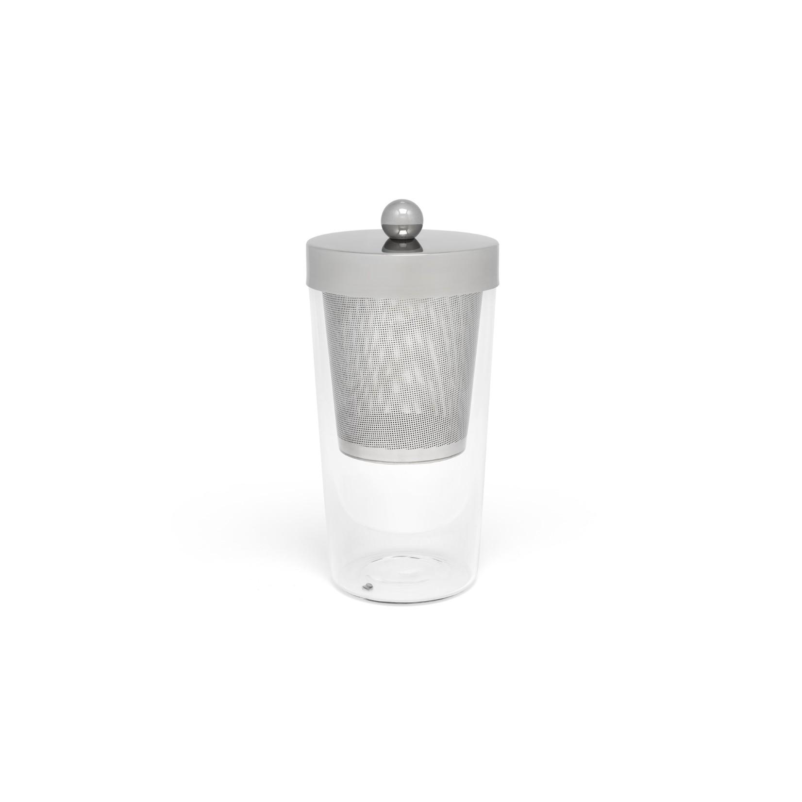 Bredemeijer Bredemeijer Theepot Tea for one Lucca dubbelwandig glas RVS filter en deksel, 200ml