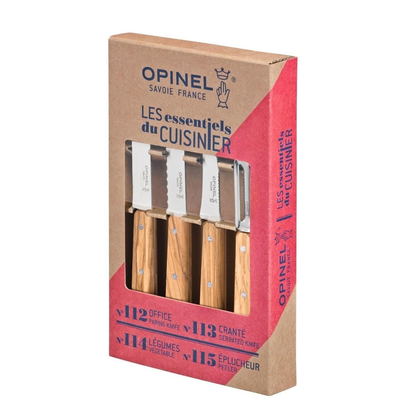 Opinel Opinel Les Essentiels messenset 4-delig olijfhout