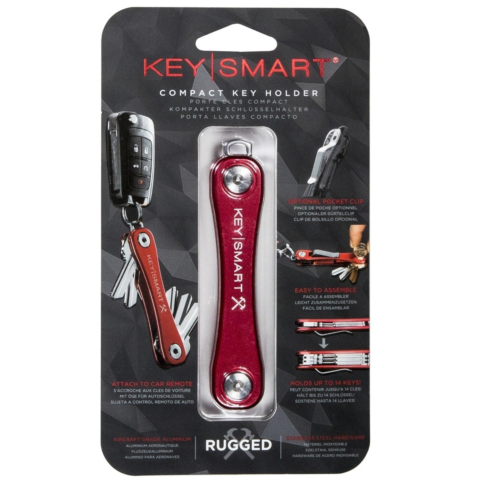 KeySmart KeySmart Rugged sleutelhouder rood
