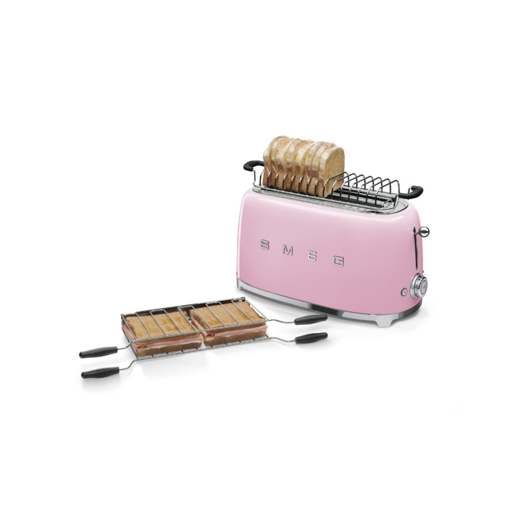 Smeg Smeg Broodrooster TSF02PKEU, 2x4 roze