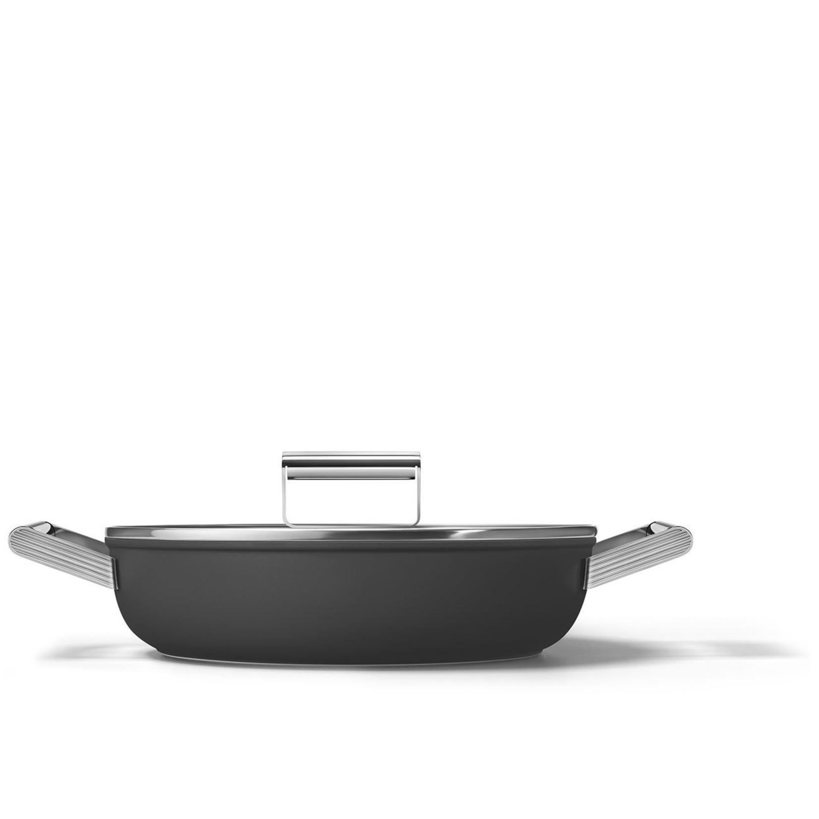 Smeg SMEG Smoorpan met deksel 28 cm, anti-aanbaklaag, zwart mat
