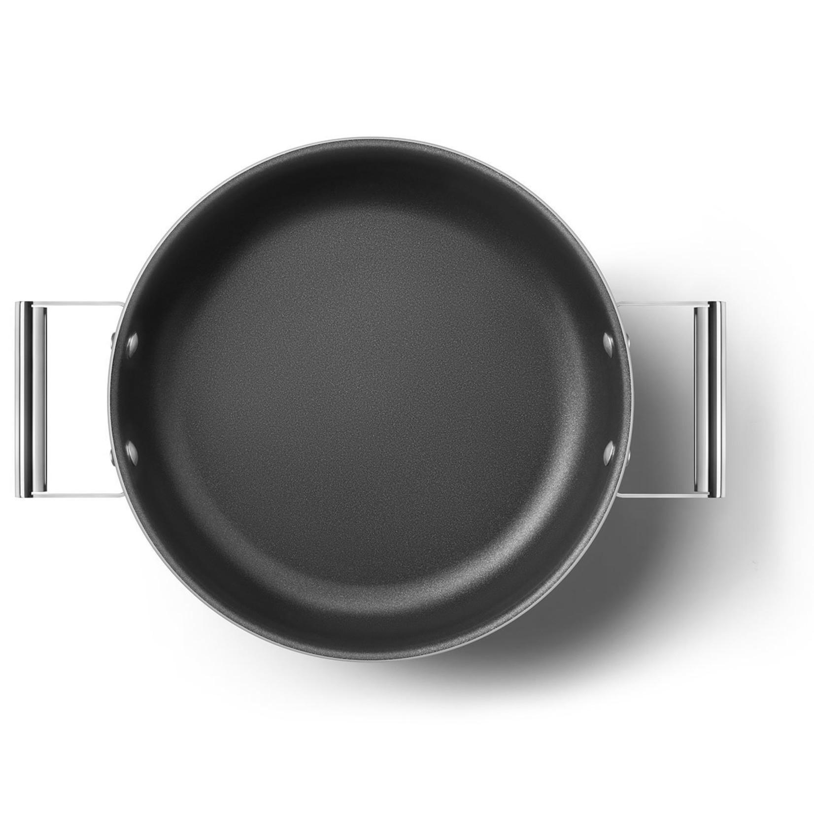 Smeg SMEG Smoorpan met deksel 28 cm, anti-aanbaklaag, rood mat