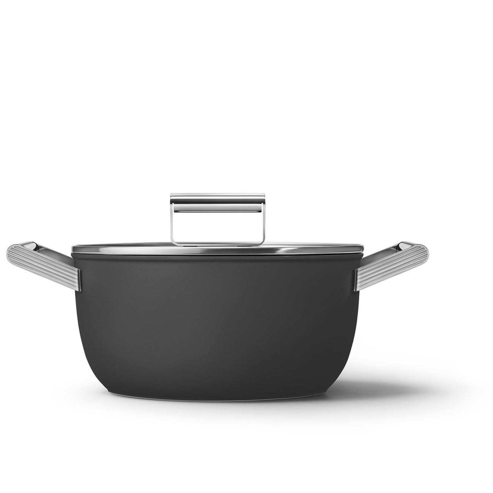 Smeg SMEG Kookpan met deksel 24 cm, anti-aanbaklaag, zwart mat