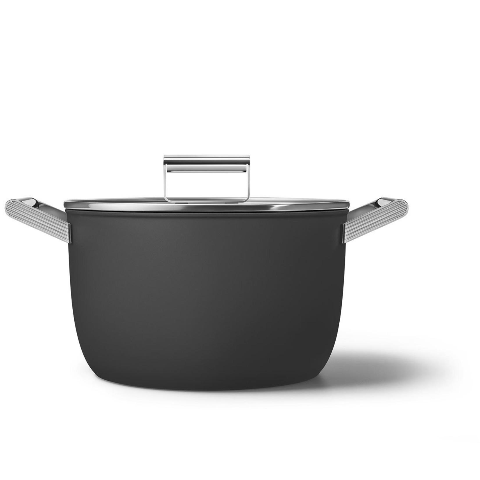 Smeg SMEG Kookpan met deksel 26 cm, anti-aanbaklaag, zwart mat