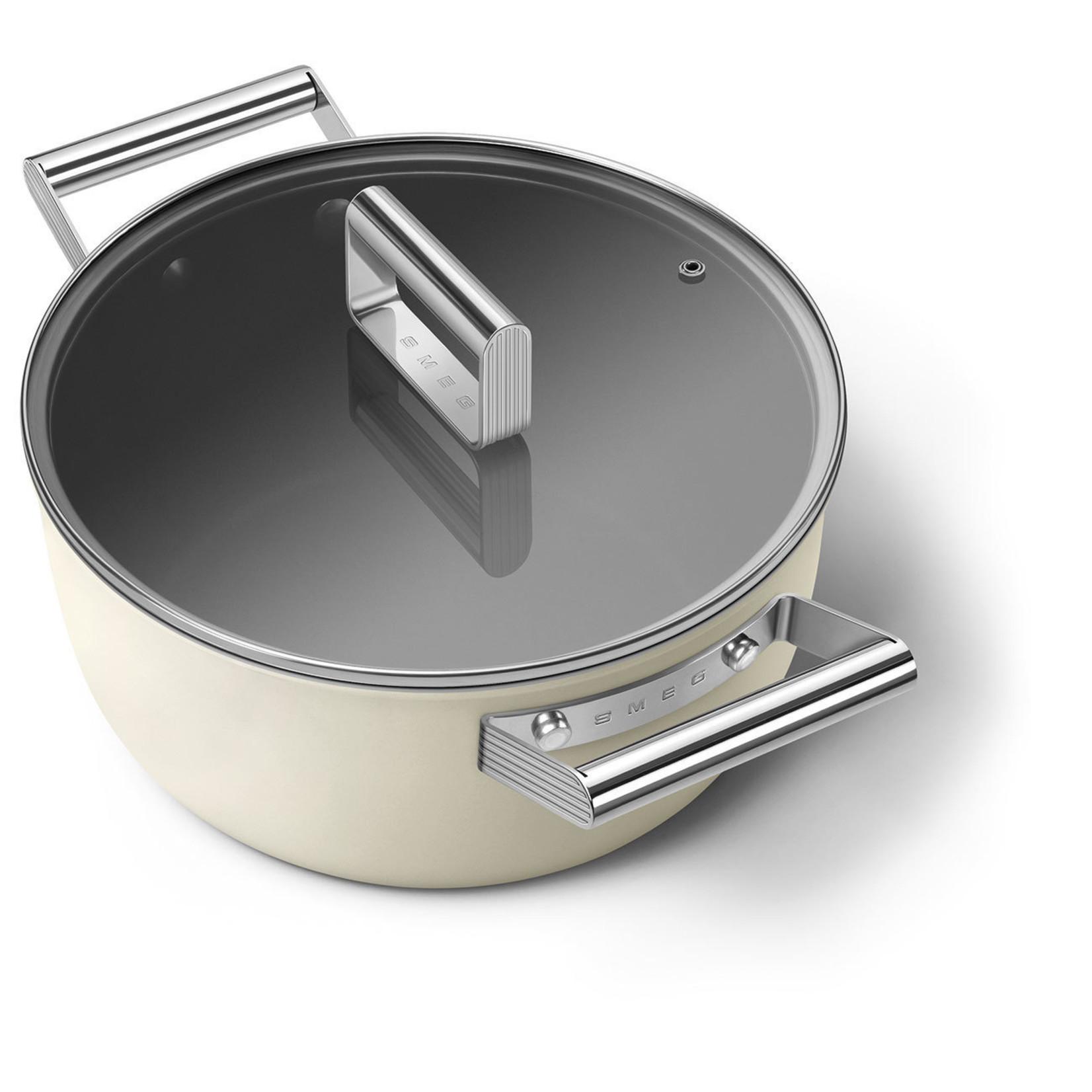 Smeg SMEG Kookpan met deksel 24 cm, anti-aanbaklaag, crème mat