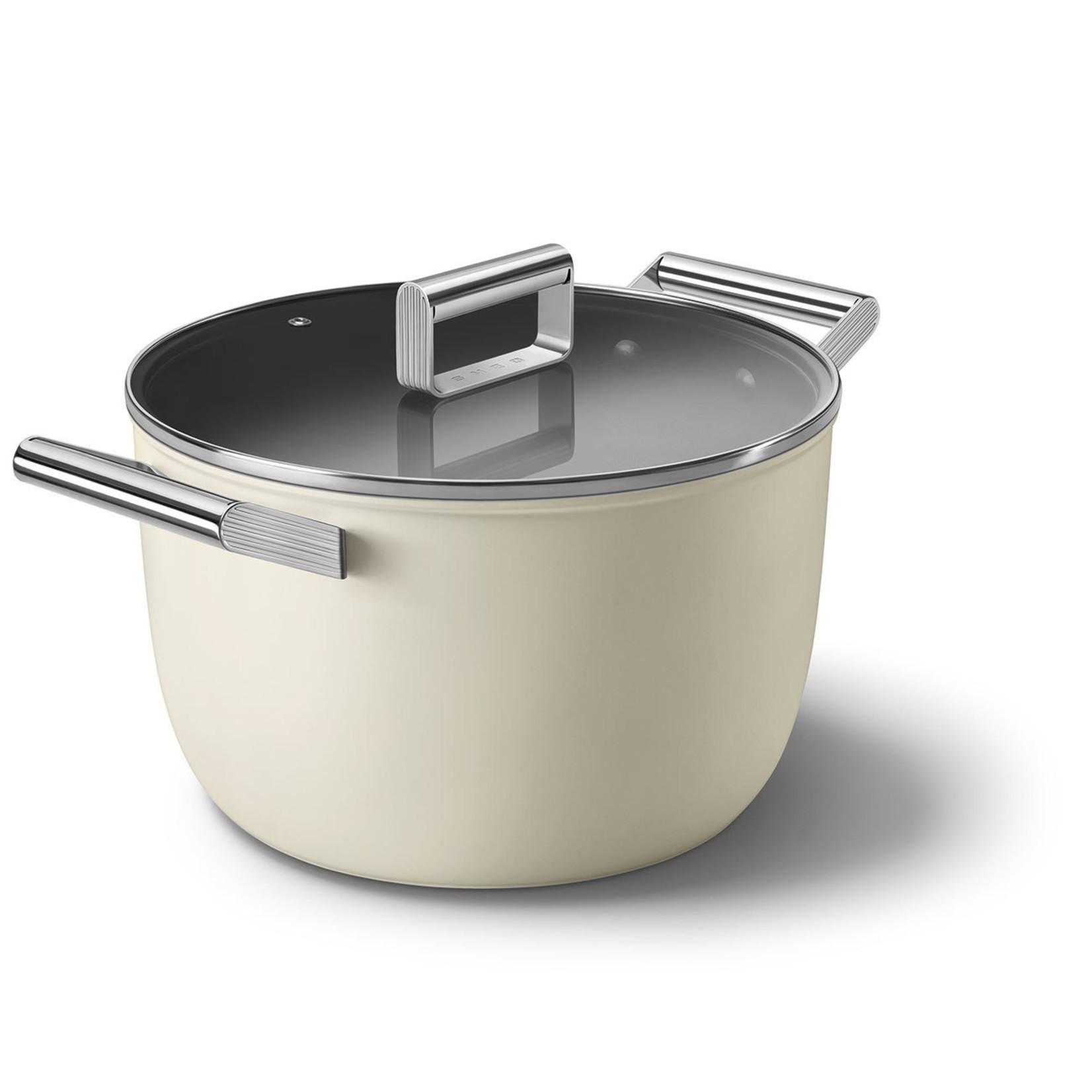 Smeg SMEG Kookpan met deksel 26 cm, anti-aanbaklaag, crème mat