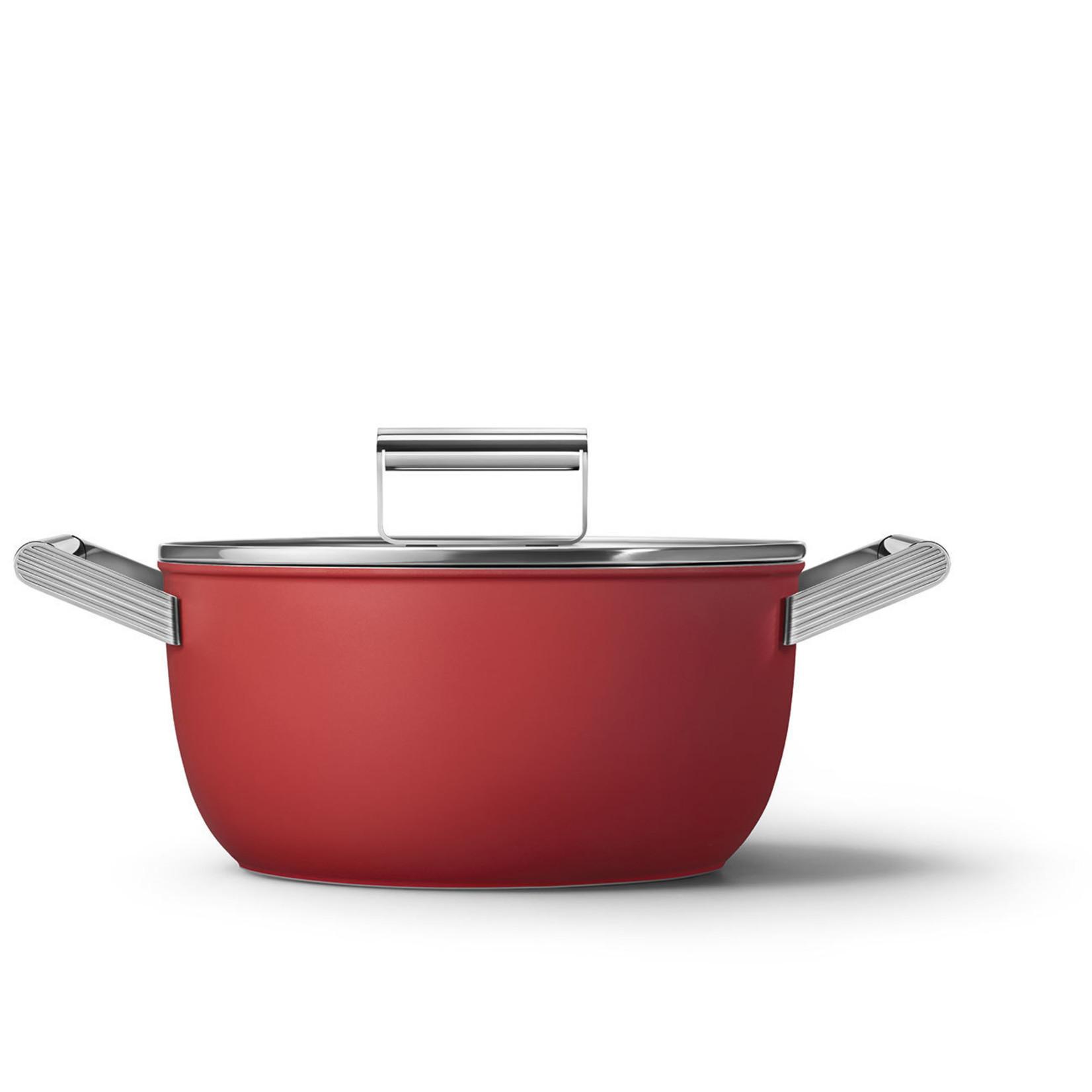 Smeg SMEG Kookpan met deksel 24 cm, anti-aanbaklaag, rood mat