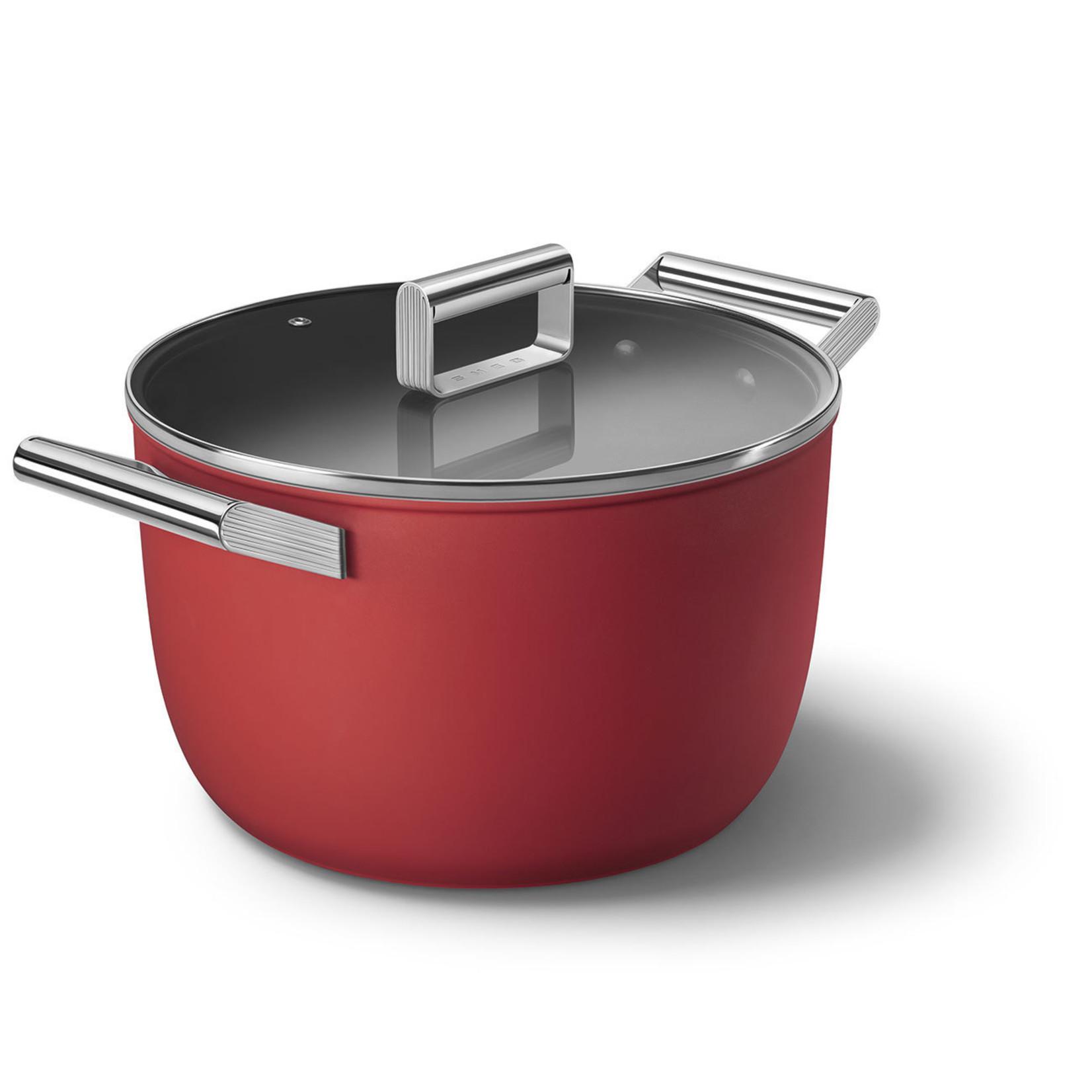 Smeg SMEG Kookpan met deksel 26 cm, anti-aanbaklaag, rood mat