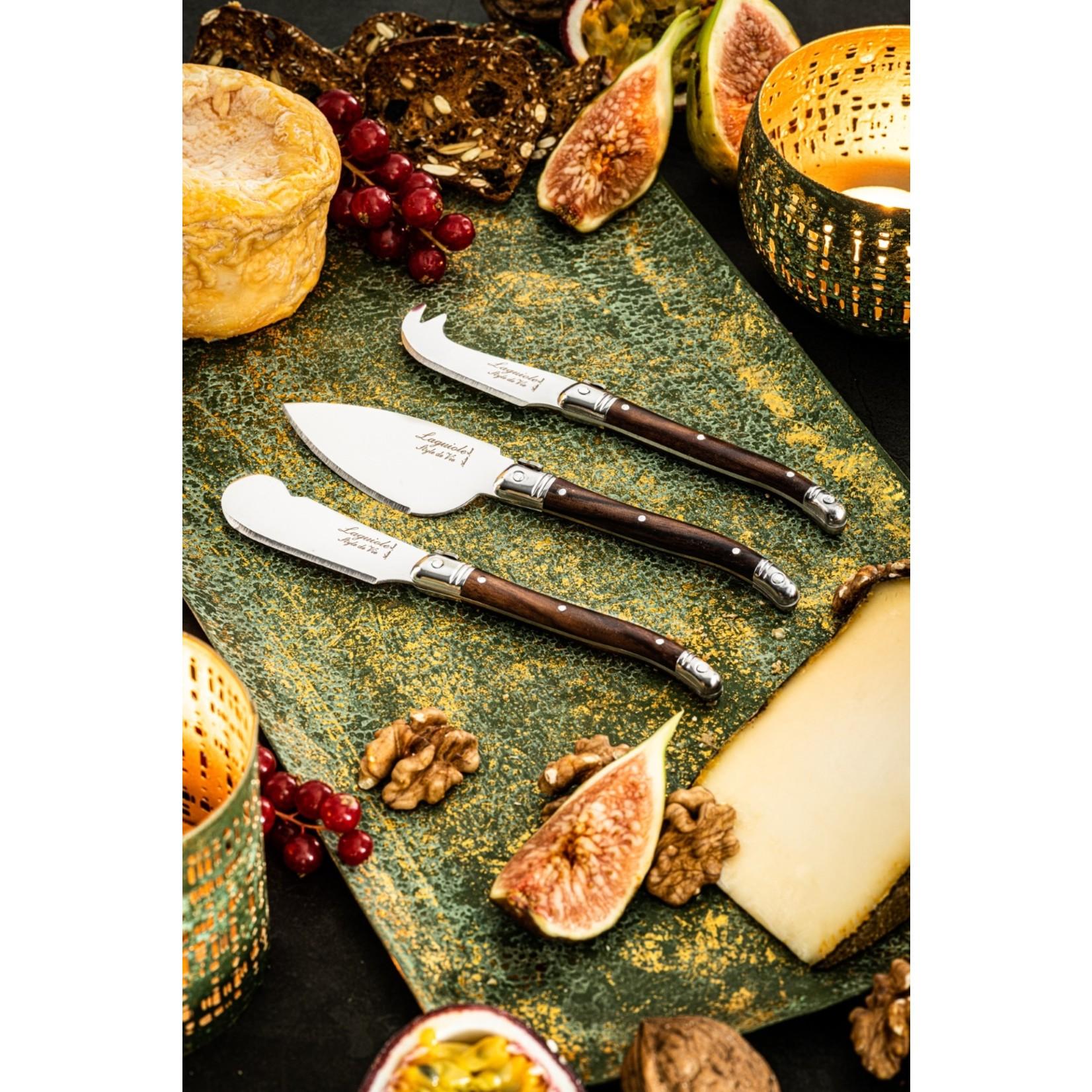 Laguiole Style de Vie Laguiole Style de Vie Premium Line kaasmessenset 3-delig darkwood