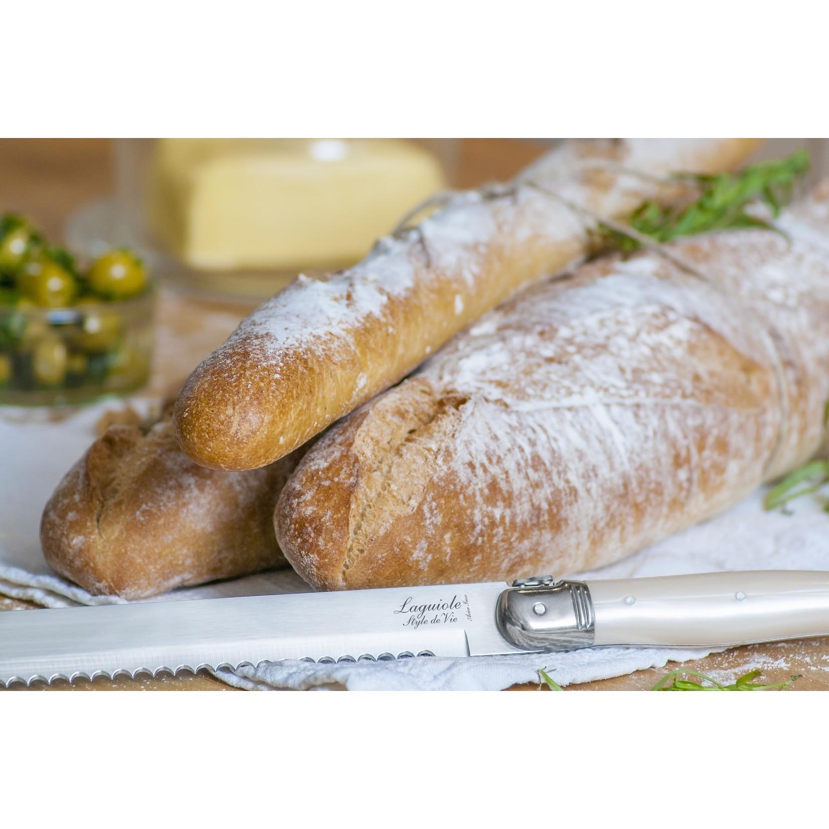 Laguiole Style de Vie Laguiole Style de Vie Premium Line broodmes parelmoer met plank